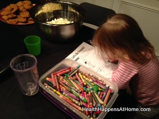 Here is my youngest, coloring away on her worksheet.