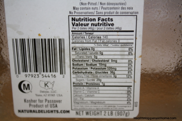 Here is the food label from my recent package of Medjool dates. I bought this package at Sam's Club.