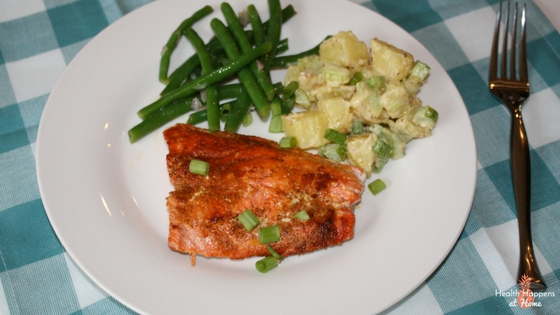 Sweet and smoky spiced salmon with dijonnaise potato salad and green beans. This meal was really good! While the salmon was good the vegetables were really delicious!