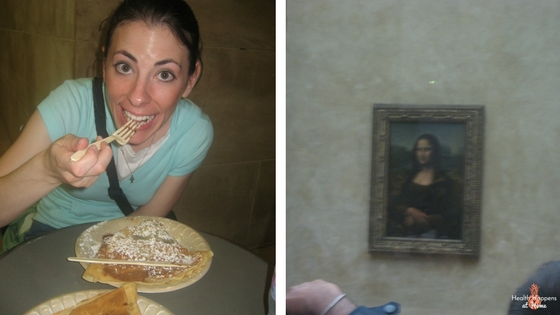 Top: a view of I.M. Pei's glass pyramid in the middle of the center plaza for my Architect husband's delight. Left:I am enjoying my Nutella filled crepes at the Louvre before visiting the Mona Lisa (right) in her multilayered display case. This was back in 2008.