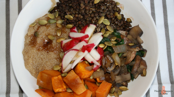#thereciperedux  It's a plant protein power bowl: Amaranth, Lentil, Sweet Potato Bowl! Read now or pin for later - Health Happens at Home