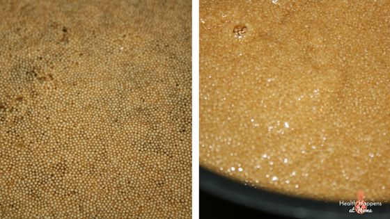 Amaranth starts as a tiny seed (smaller than quinoa) (left) and cooks to a porridge like consistency (right).