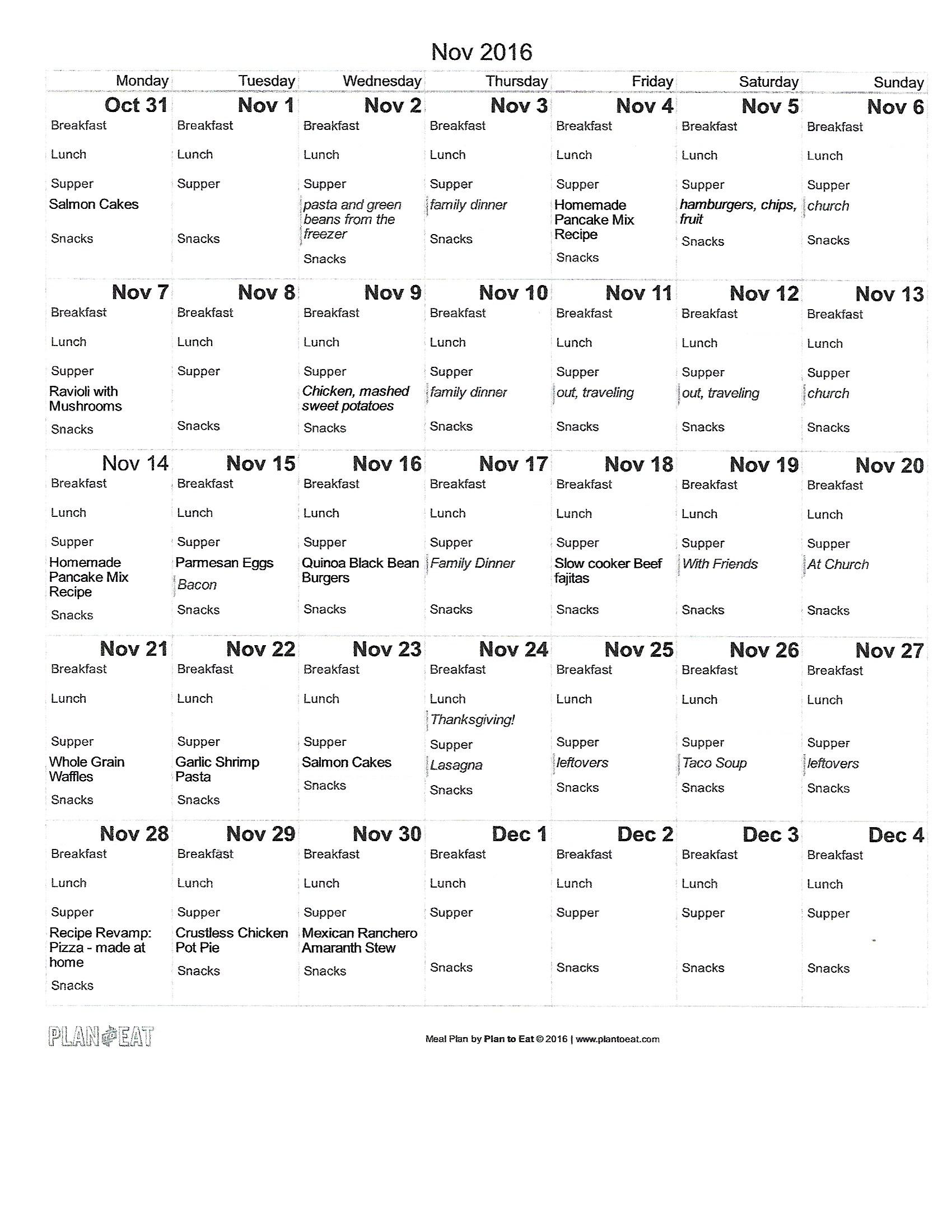 Our November Meal Plan to give you ideas. Read now or pin for later. - Health Happens at Home