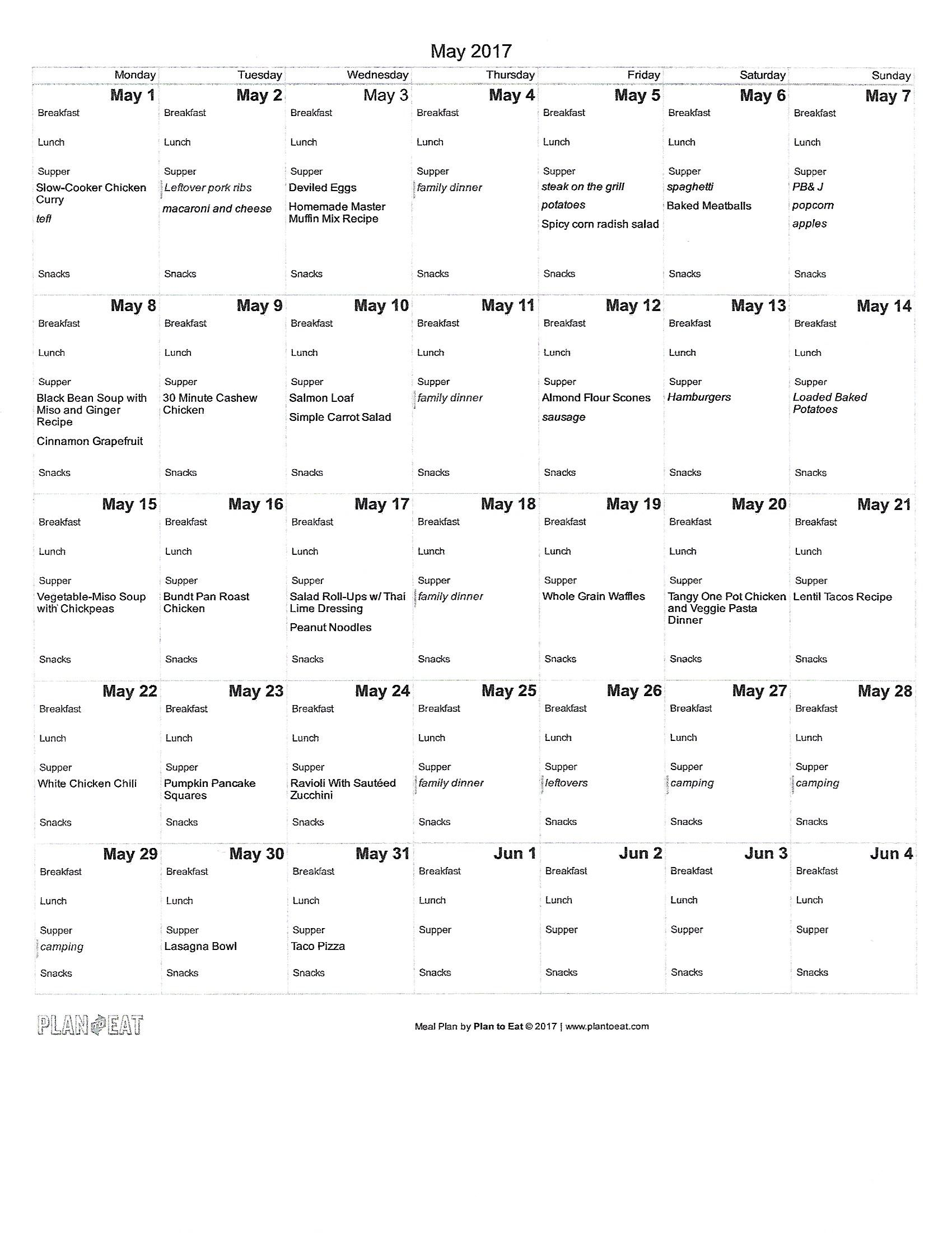 Our May meal plan. Get recipe links in the post. - Health Happens at Home