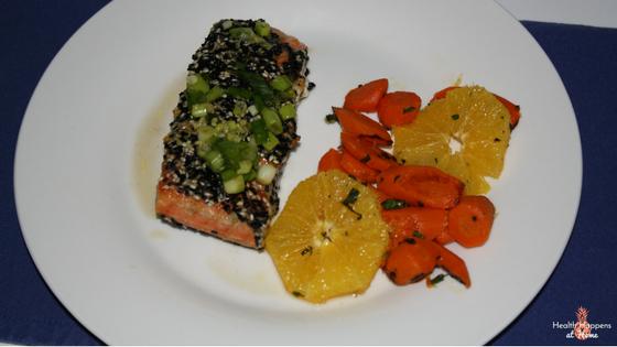 Sesame-crusted salmon with Cara Cara orange and roasted carrot salad. So good!