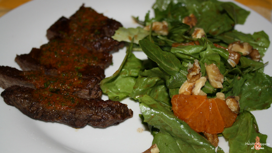 Steaks with satsuma escarole-salad and chimichurri. This was delicious.