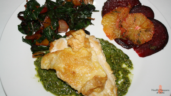 Chicken with rosemary-roasted beets and oranges. The beets and the chard in this meal were a bit earthy for my preference. And if I don't love it, no change of anyone else even trying it. They are full of nutrients and I enjoyed trying something different but it just wasn't a hit.