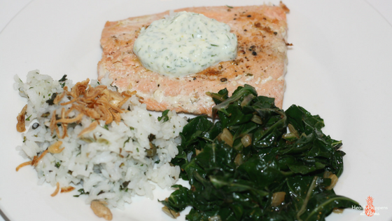 Salmon with yogurt-dill sauce and mint-cilantro rice. The salmon was good. Chard was earthy (but nutrient dense) and the rice was AH-mazing!