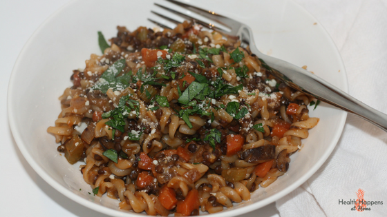 Lentil-mushroom Bolognese with gluten-free fusilli. This was good but the kids were scared of the looks and refused to taste it.