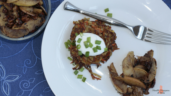 Root vegetable latkes with Greek yogurt and sauteed apples. I liked it but no one else did.