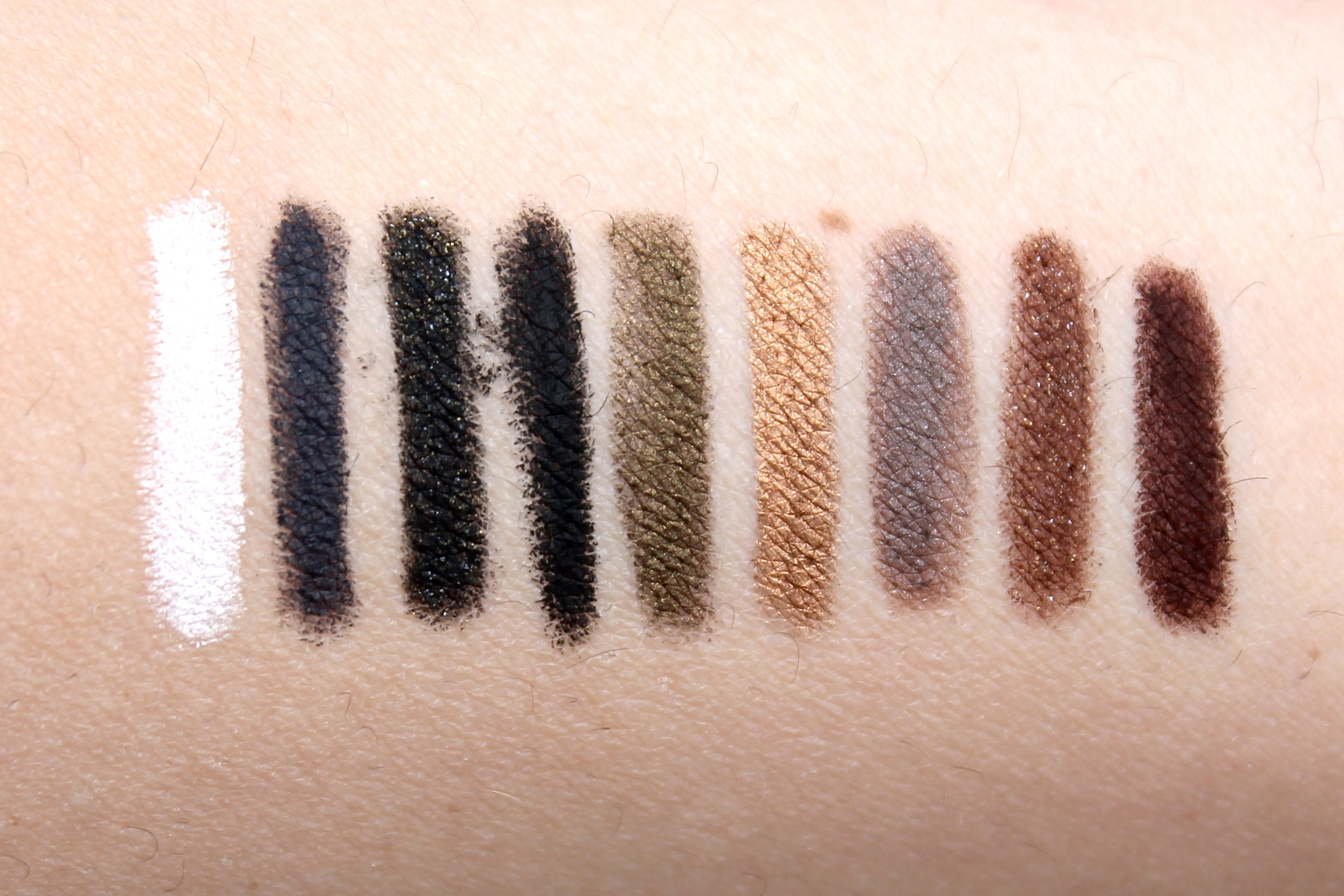 Swatched L->r /M-16, M-14, D-12, M-10, I-36, ME-42,S-50, D-62, and M-60