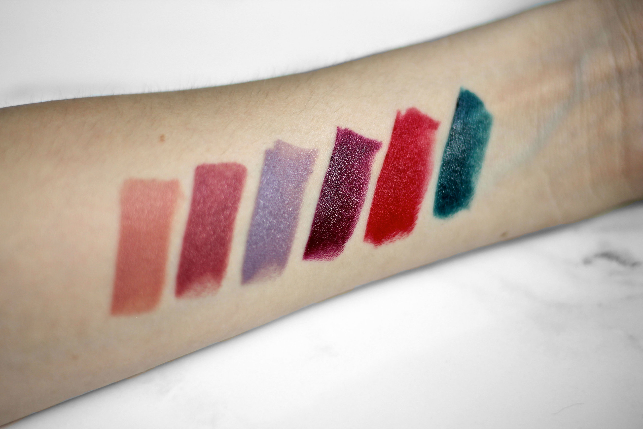 Swatched L-R: Permanent:C105, C211, C502, C506 +Limited Edition: M401 and C603.