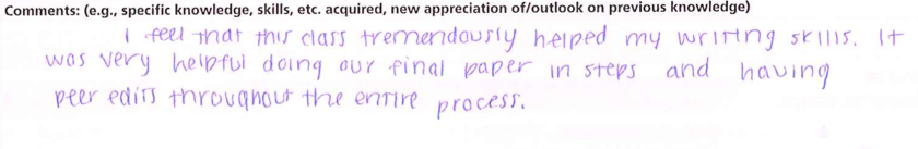"""""""I feel that this class tremendously helped my writing skills. It was very helpful doing our final paper in steps and having peer edits throughout the entire process."""""""