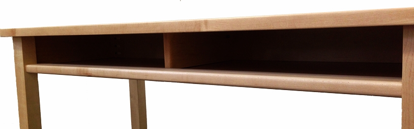 Cubby storage space in double adj. desk with hardwood center divider