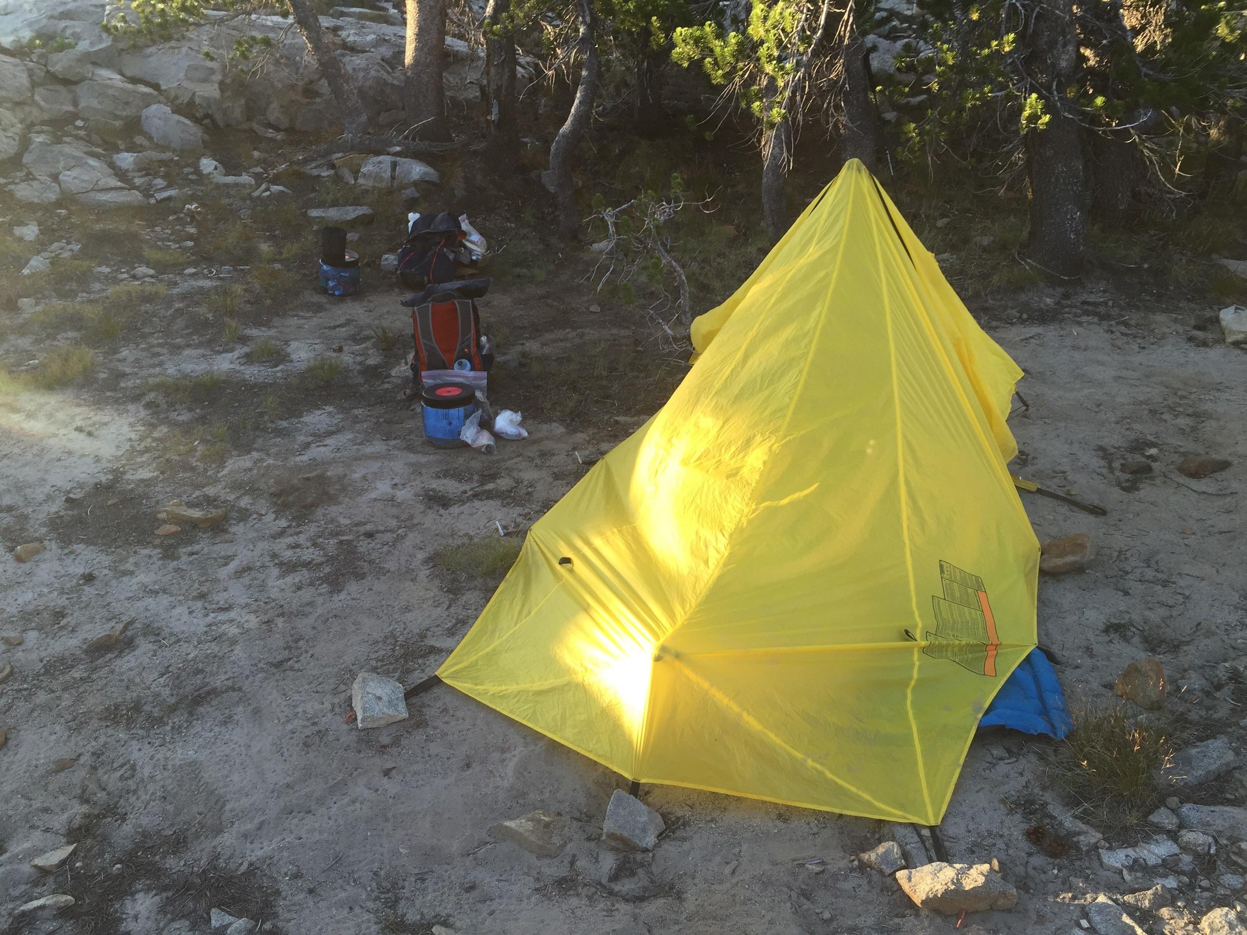 Sandy bottom. Our Brooks Range Quick Tent.