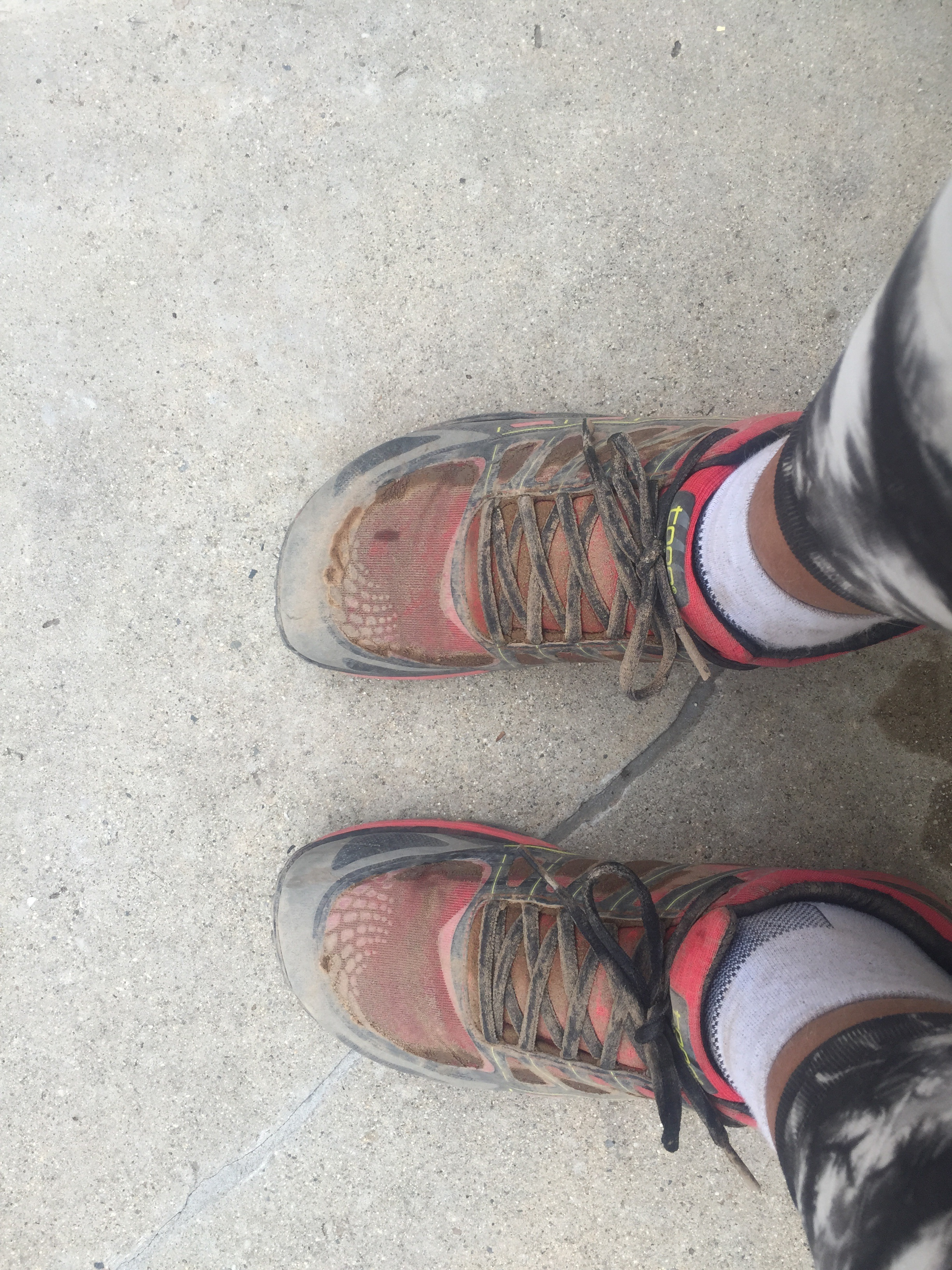 With compression sleeves. After a long run. Dirty and used!