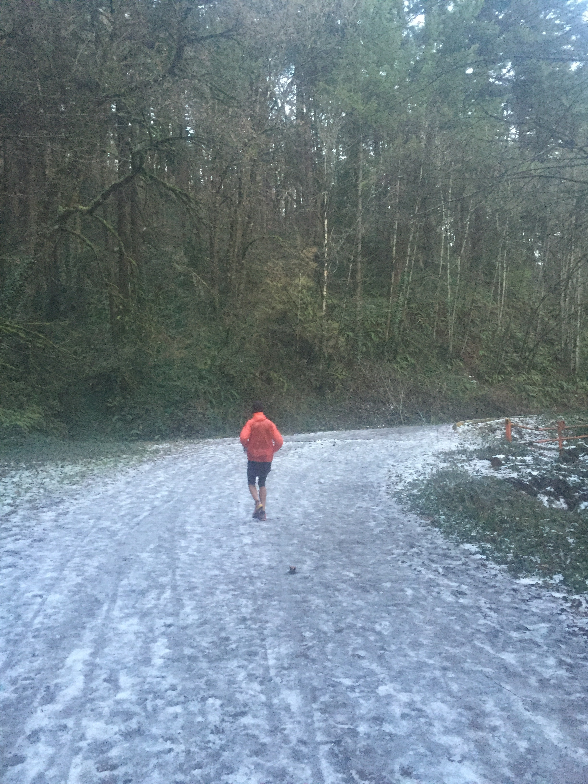 My dad getting it done in snowy Portland, OR. We're SoCal boys, so the snow/ice (mainly ice) was crazy for us!
