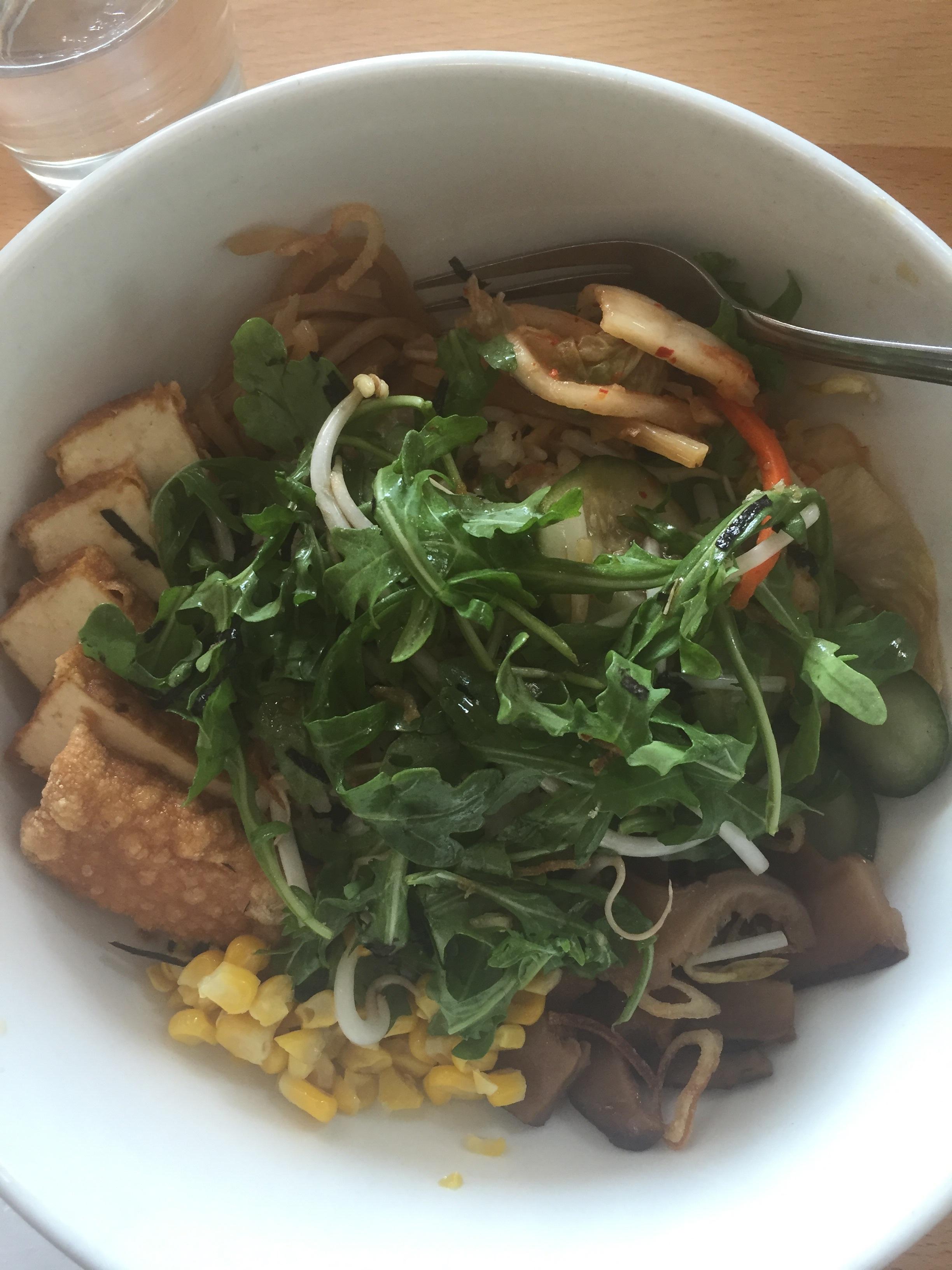Along the path. Rice bowl at Boke Bowl in Portland. Tofu, rice, kimchi, corn, bamboo shoots, etc.