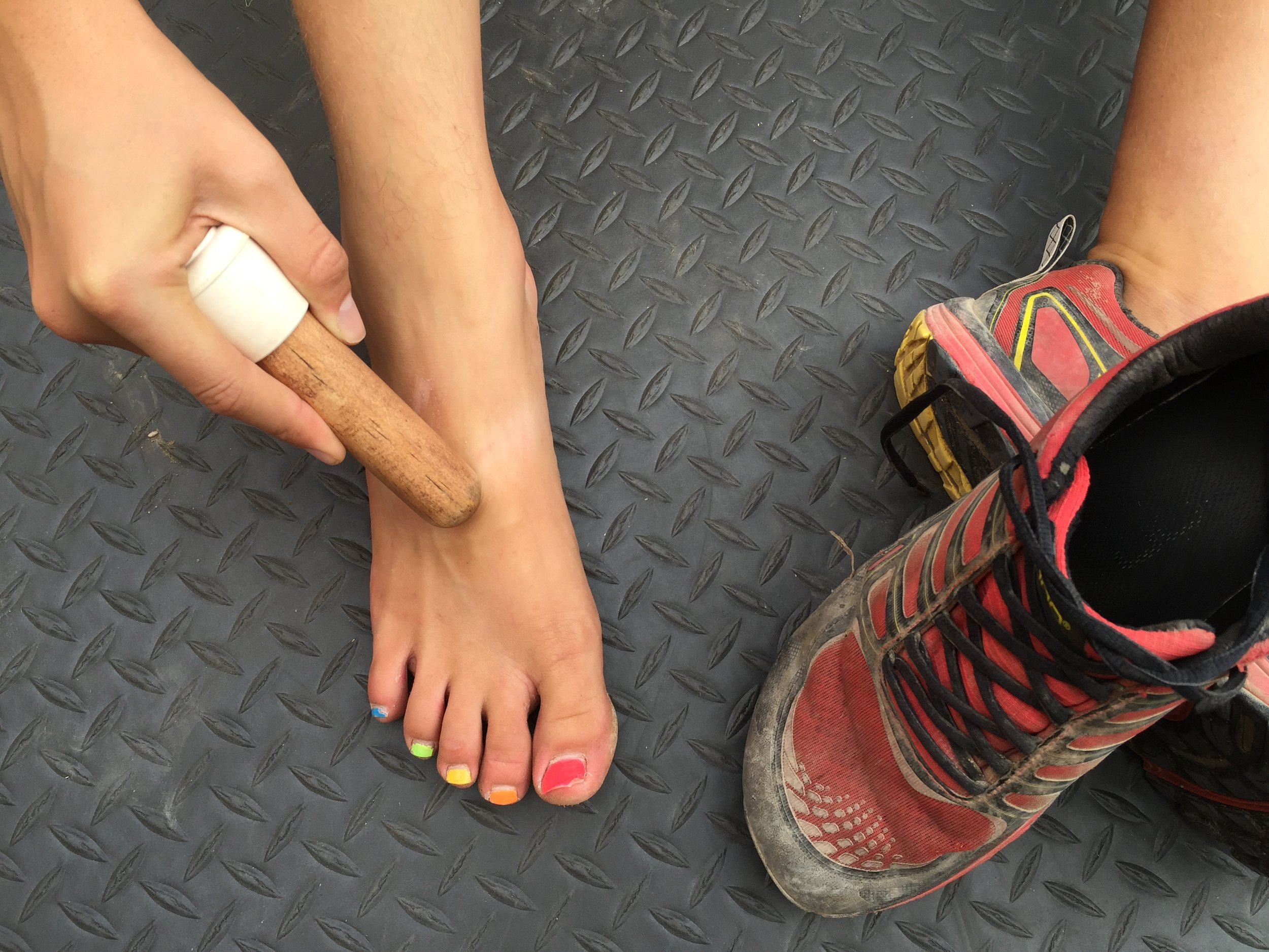 Foot Top/Bottom: - With over 100 muscles, tendons, and ligaments your foot, and the prolonged use it undergoes, is prone to injury. With proper form (to learn go to targetreleaserecovery.com) and very careful massaging you can assuage that. Stay away from sensitive areas like the Achilles tendon.
