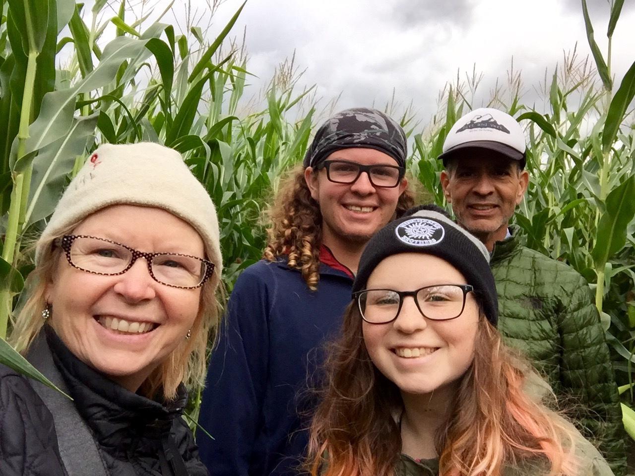 In the corn maze.