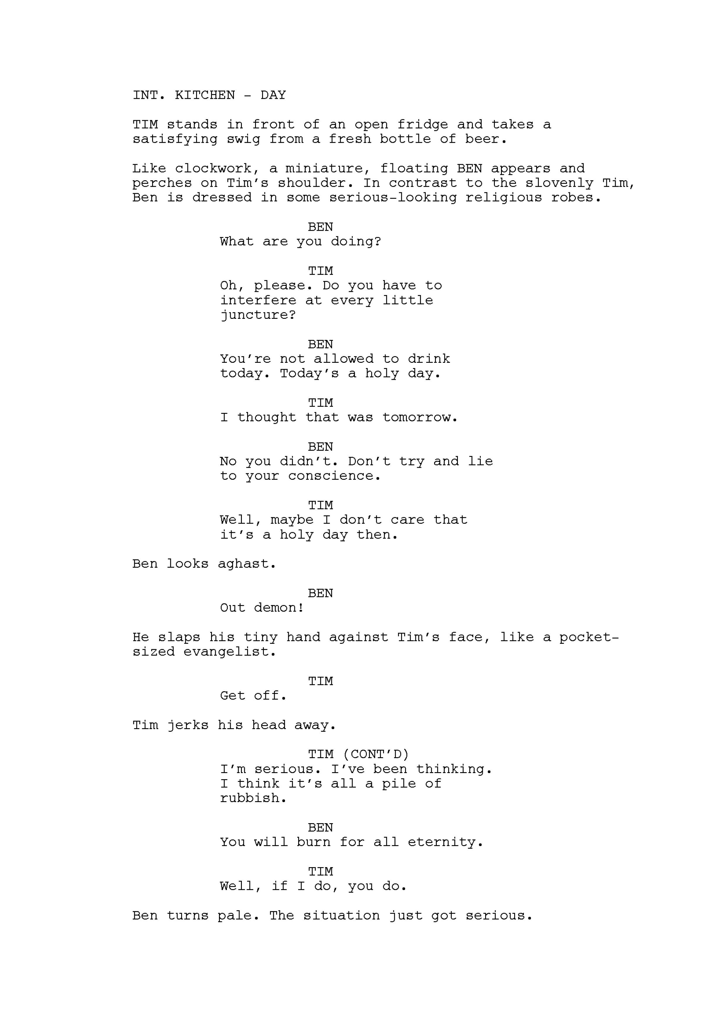 An excerpt from the script for 'Watch and Win' episode, 'The Conscience.' Written by me.