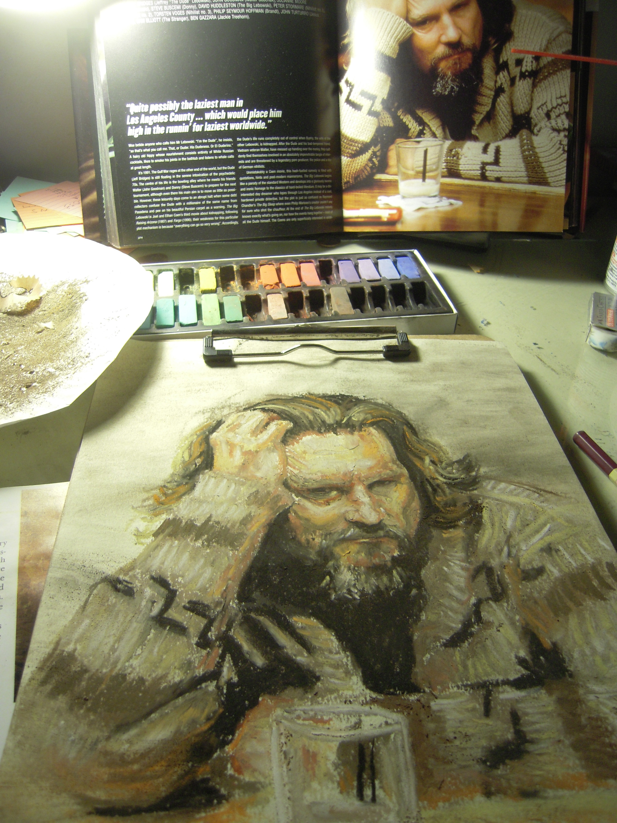 """The Dude Abides"" in Oil Pastels   It really ties the room together."