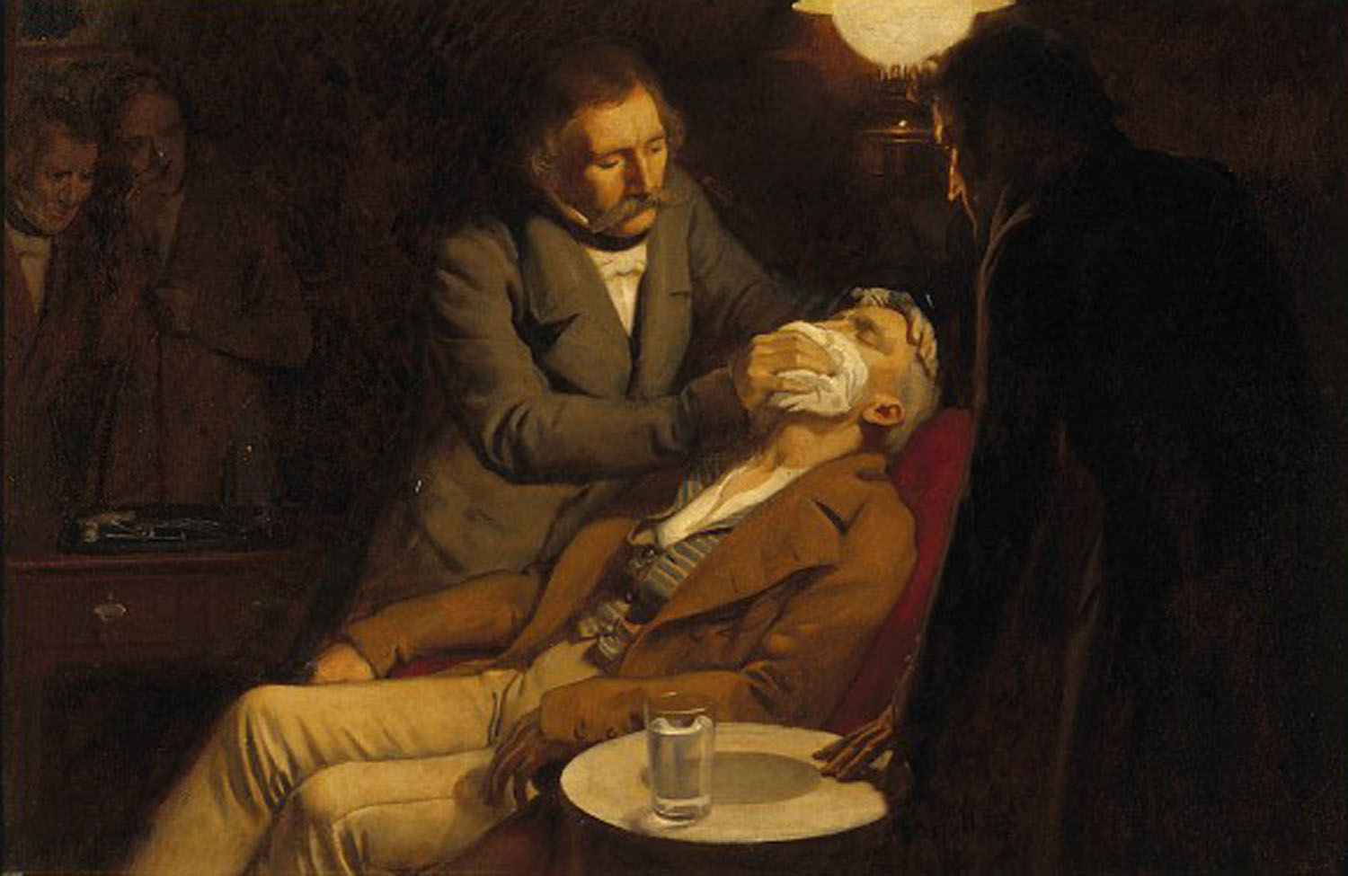 The first use of ether in dental surgery, 1846. Ernest Board; oil painting.
