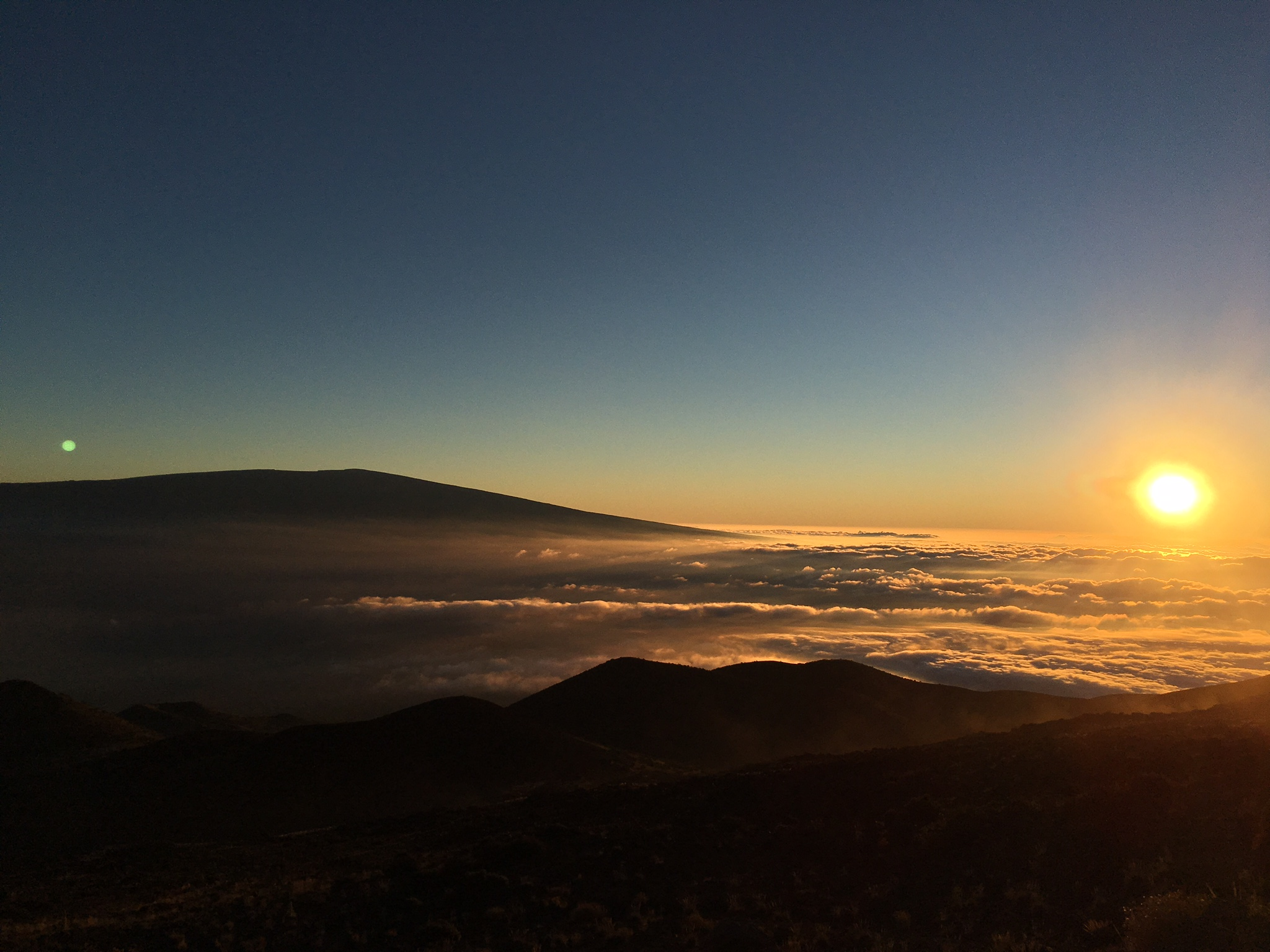Above the clouds, sunset at Mauna Kea
