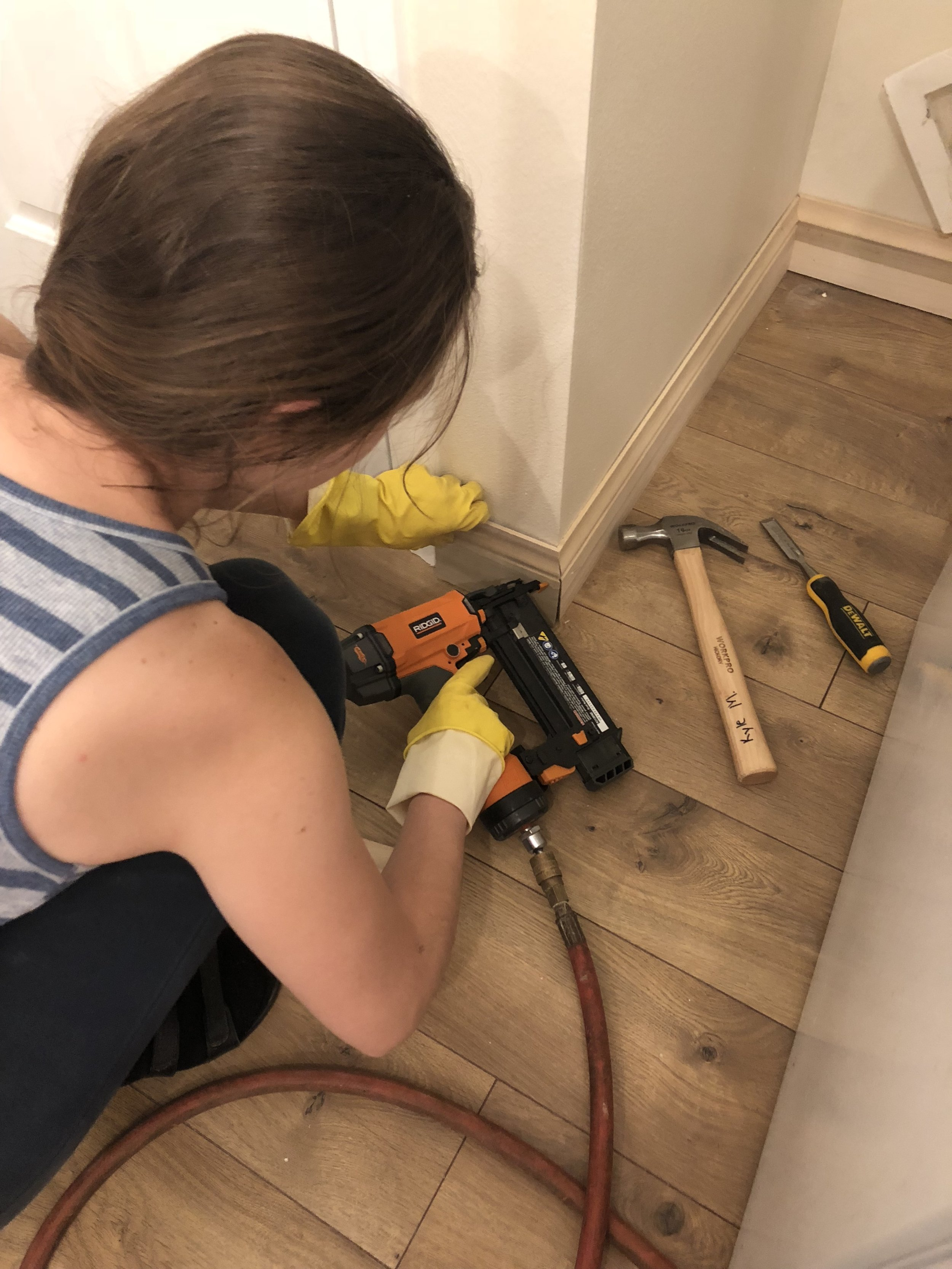 It was fun to learn some new things. Out with the old flooring and base boards and in with the new! We replaced the appliances and most of the light fixtures as well.