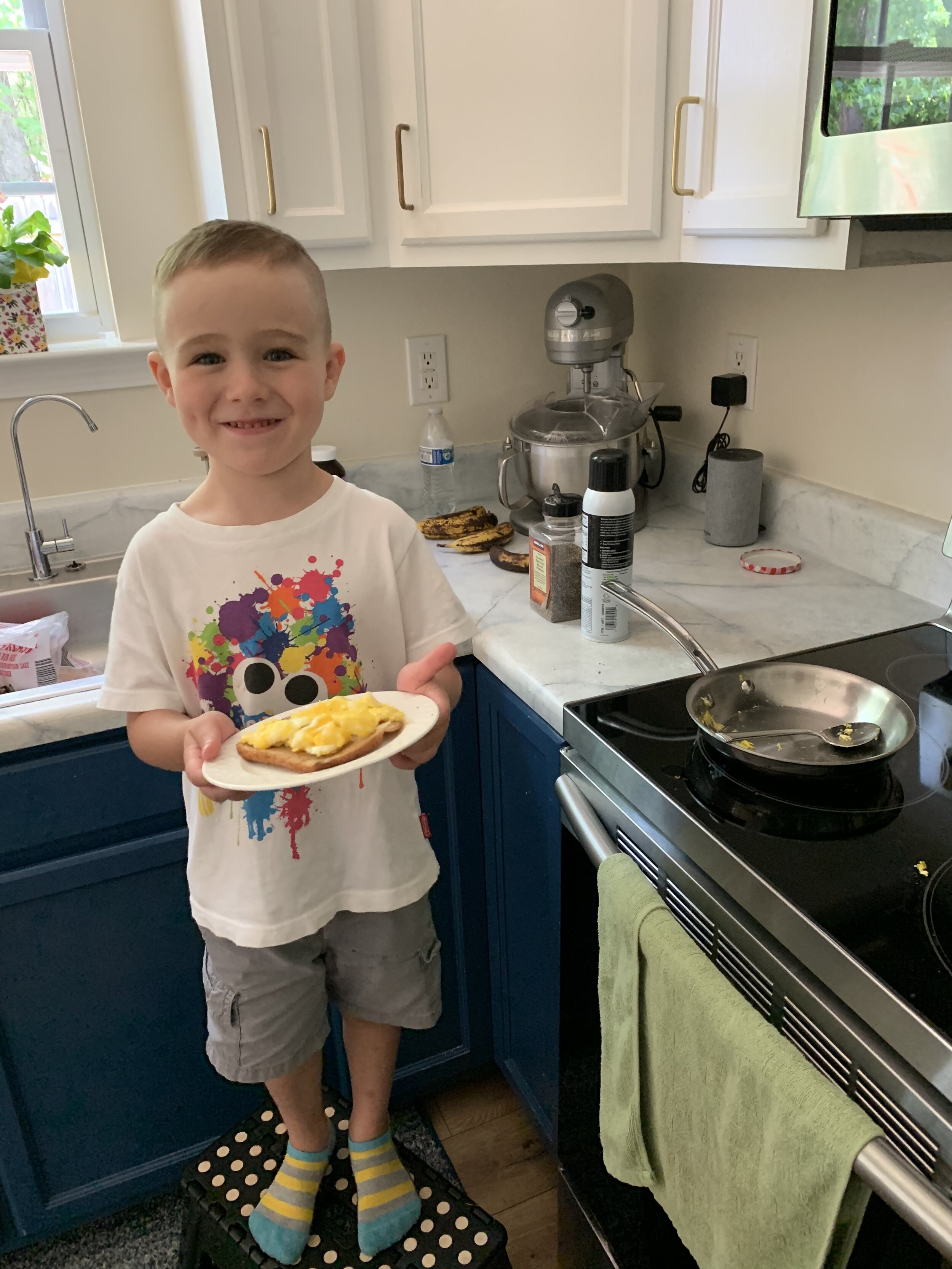 This guys knows mama well. Loves to make the two of us an egg and toast every morning and he cooks it just the way I like it!