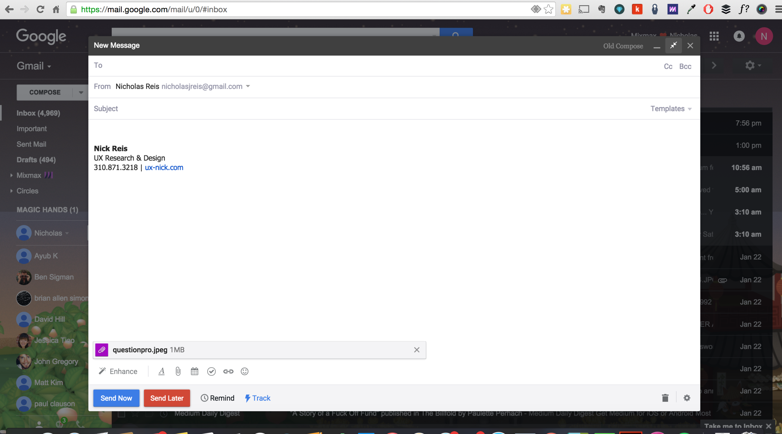 1.4 ❧ Gmail screen displays attached image