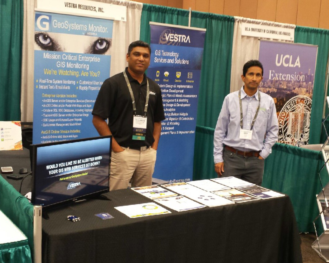 Solomon Pulapkura, VESTRA GIS Project Manager and Raj Patil, Lucity Director of Strategic Partnerships at the 2018 URISA CalGIS & GIS Pro Conference in Palm Springs