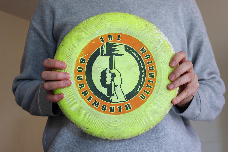 Printed logo design on frisbee disc, 2010.