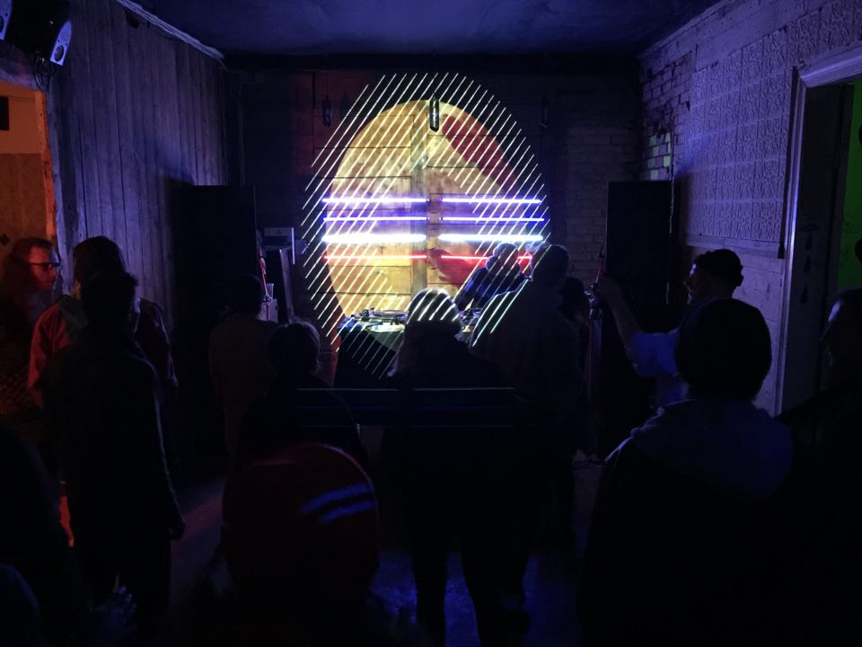 Video projection at music venue, 2016.