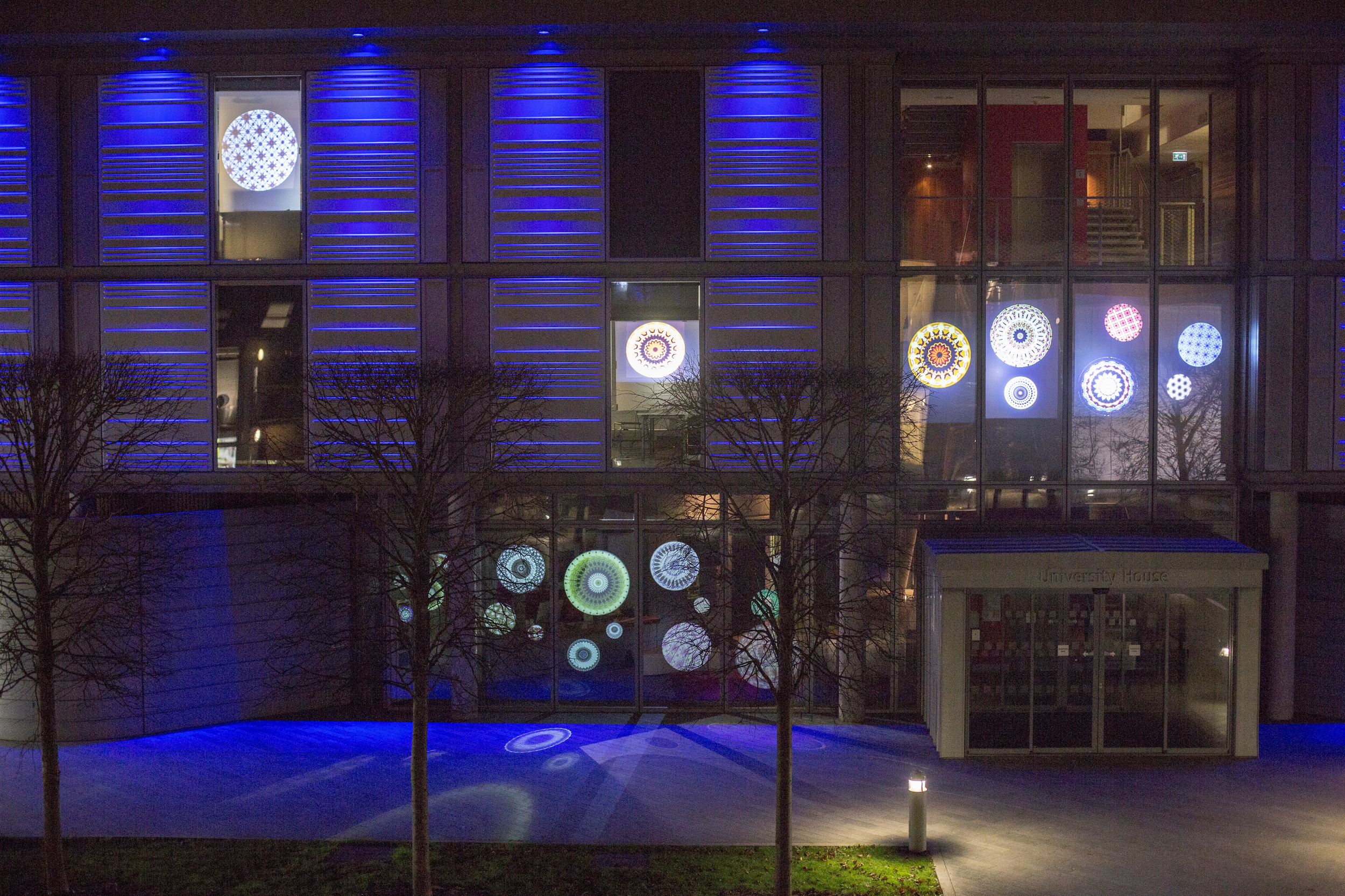 Video mapping on building's windows, 2014.