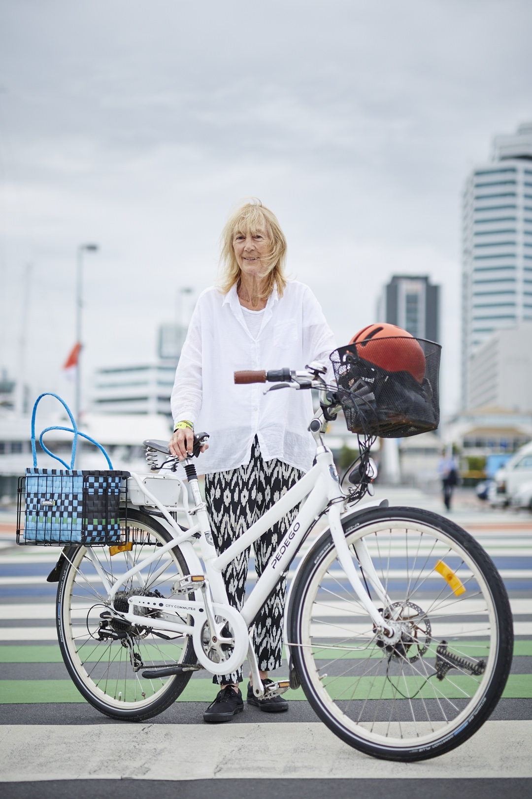 Portrait of Barbarawith her bike for Auckland Transport Cycling campaign, Auckland, New Zealand