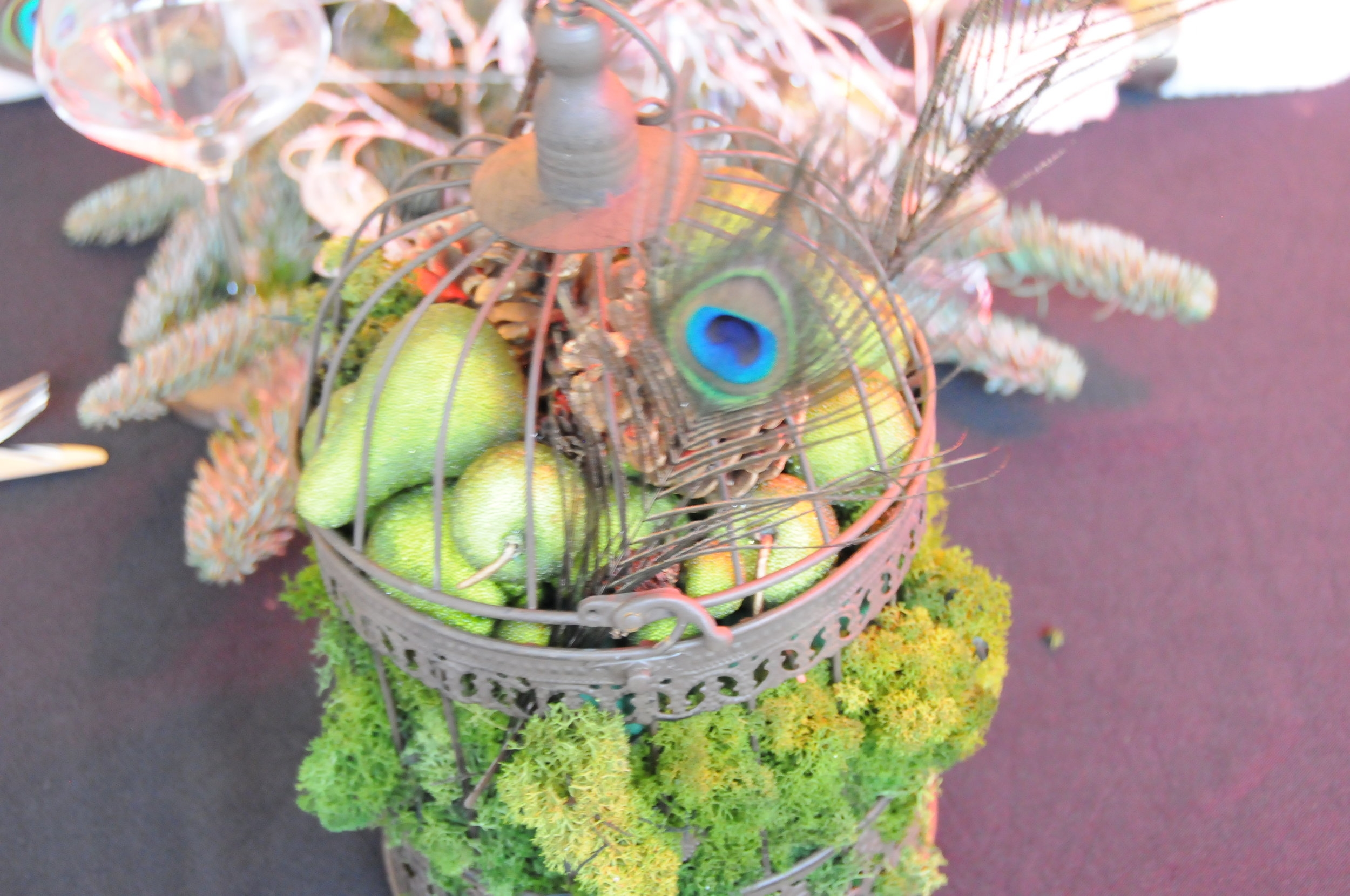 Christmas table birdcage