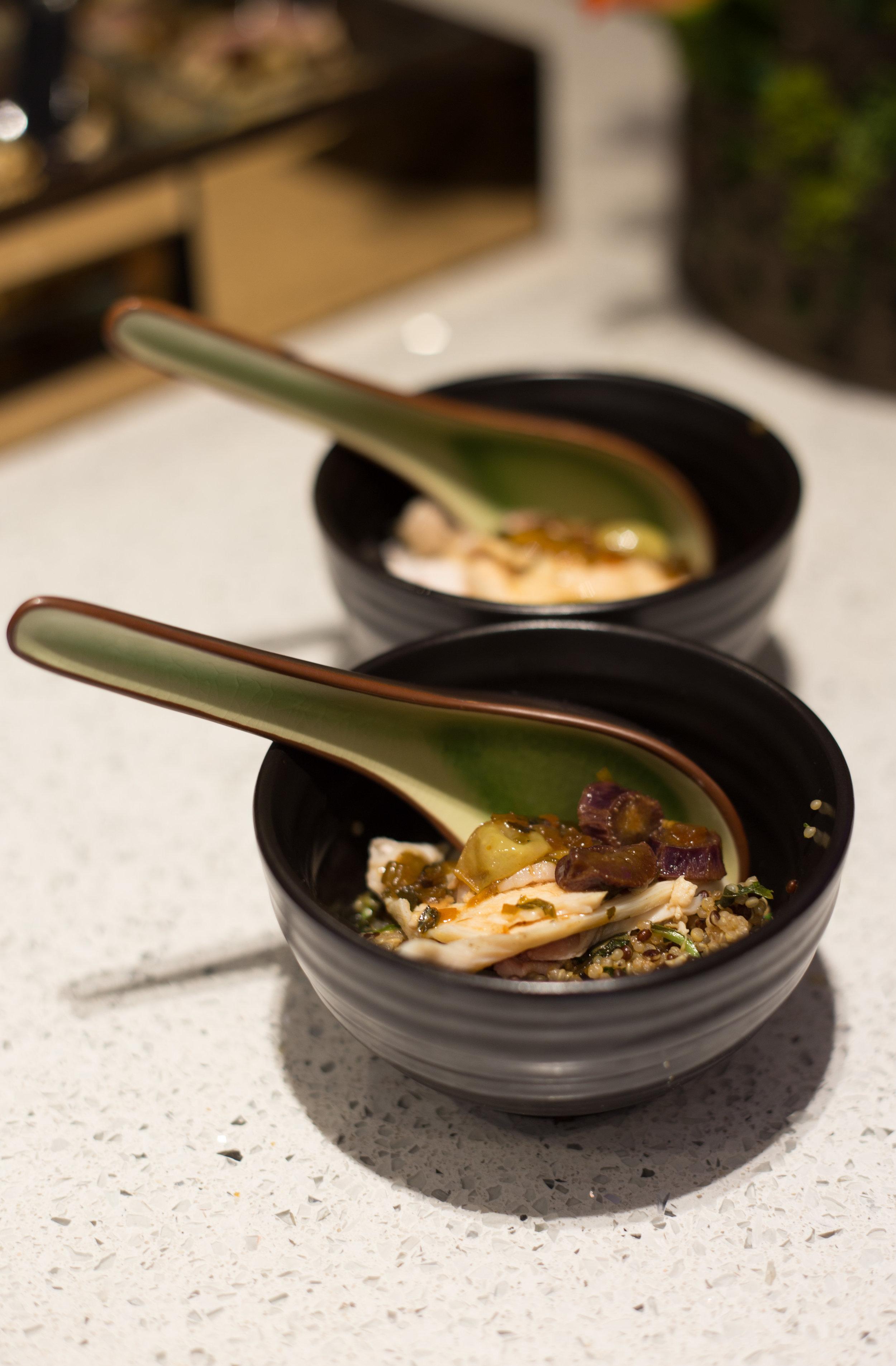Pearl barley risotto, butter grape chicken with tarragon