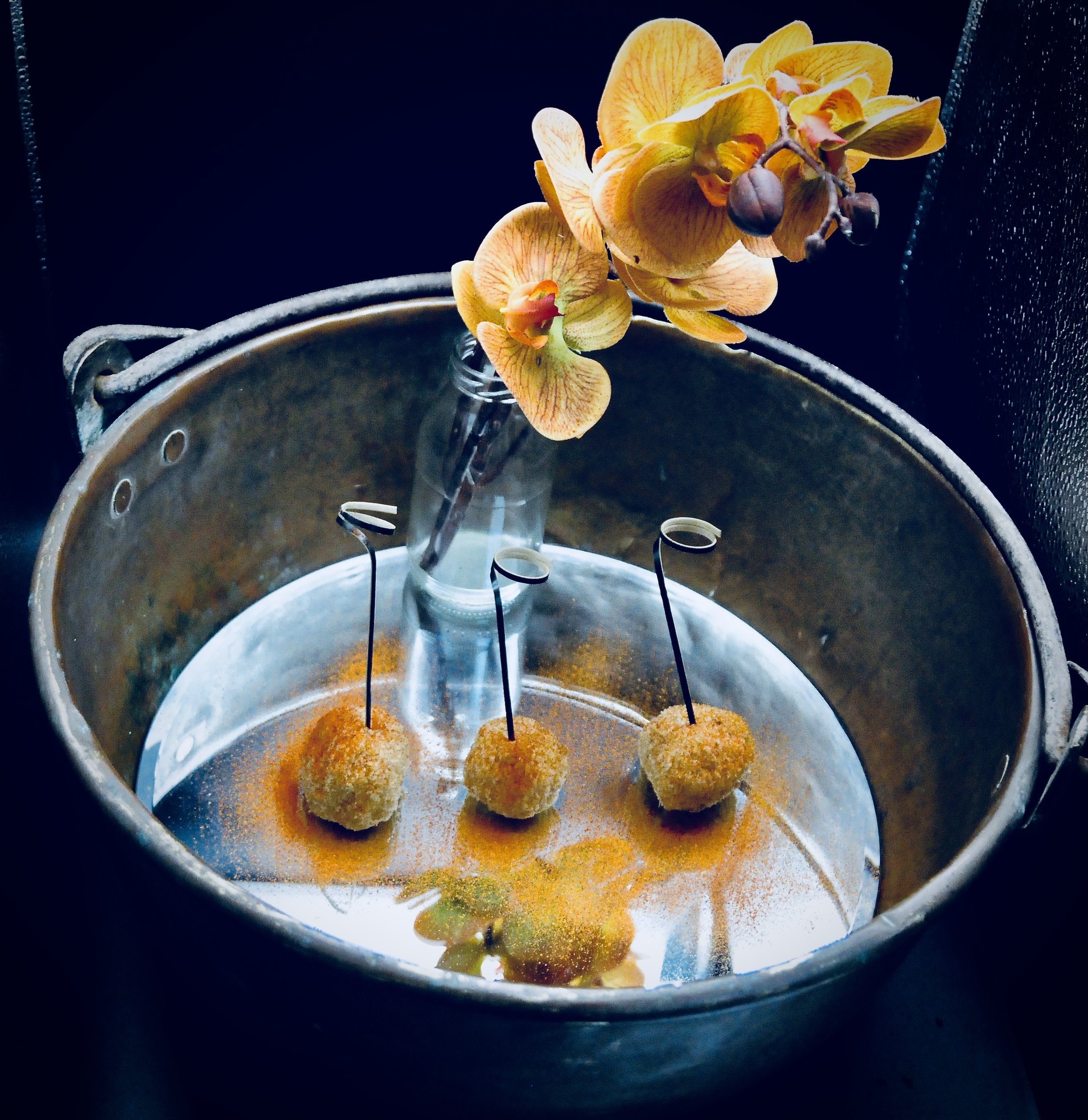 Butternut squash, thyme, chestnut and mozzarella arancini balls