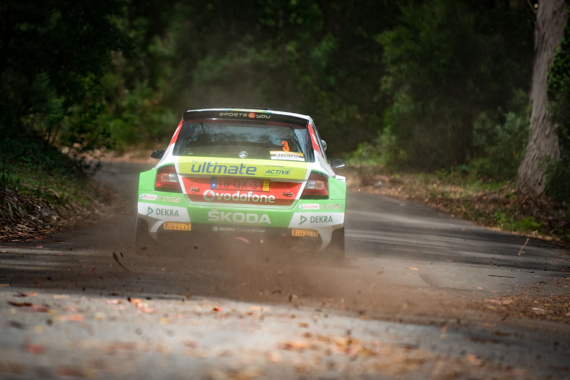 Miguel Barbosa in Skoda Fabia R5 during the 2017 Rally Vidreiro speeding inside the woods.