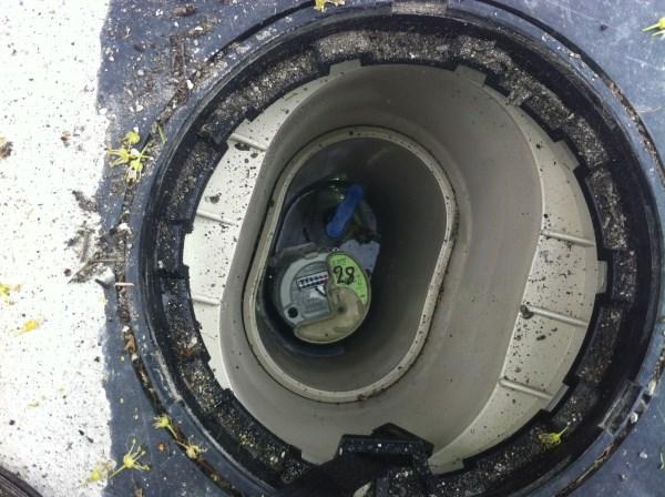 inside of a water meter box