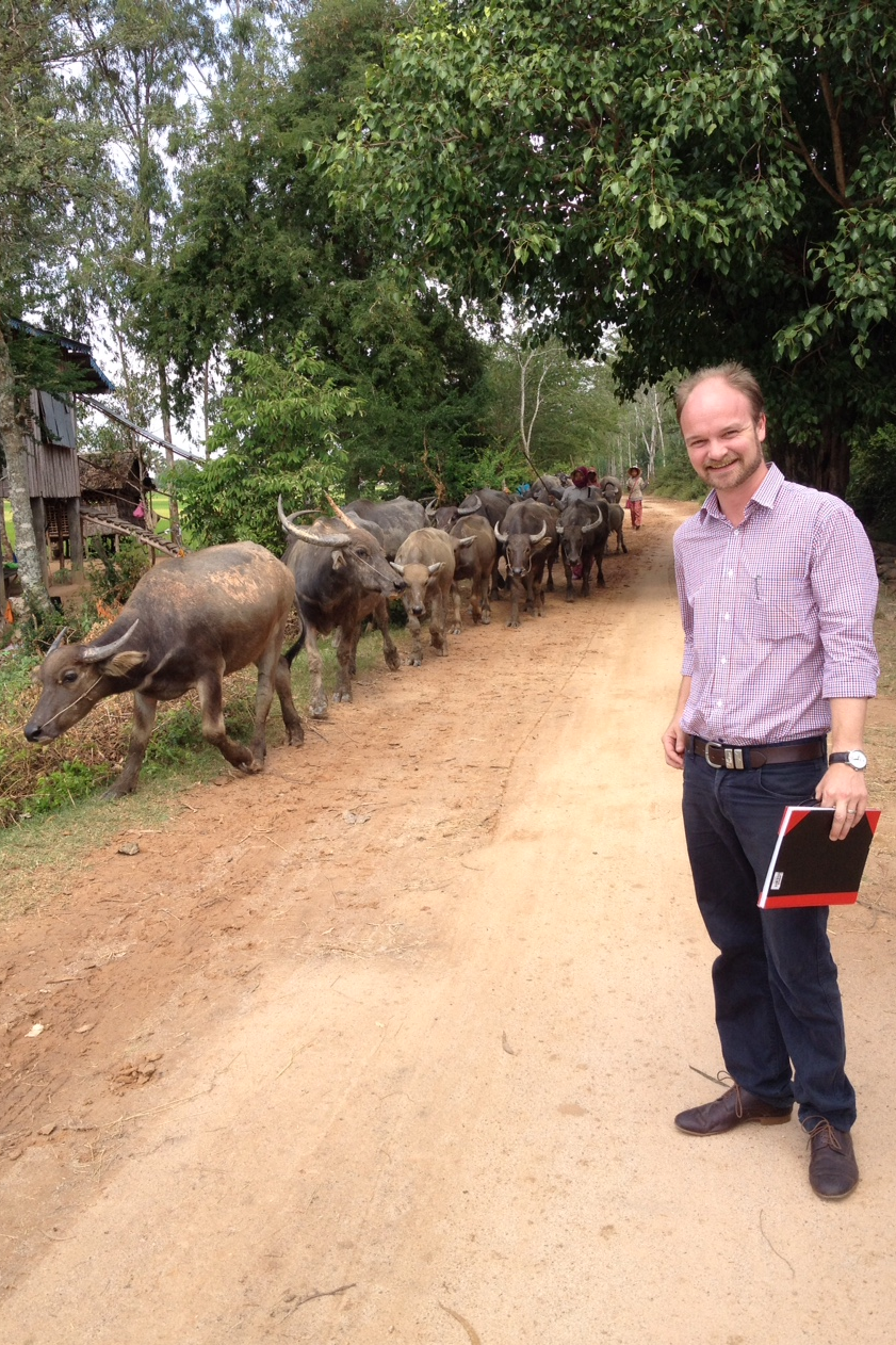Tom during an on-the-job training session on risk analysis for the ADB/Royal Government of Cambodia SPS project
