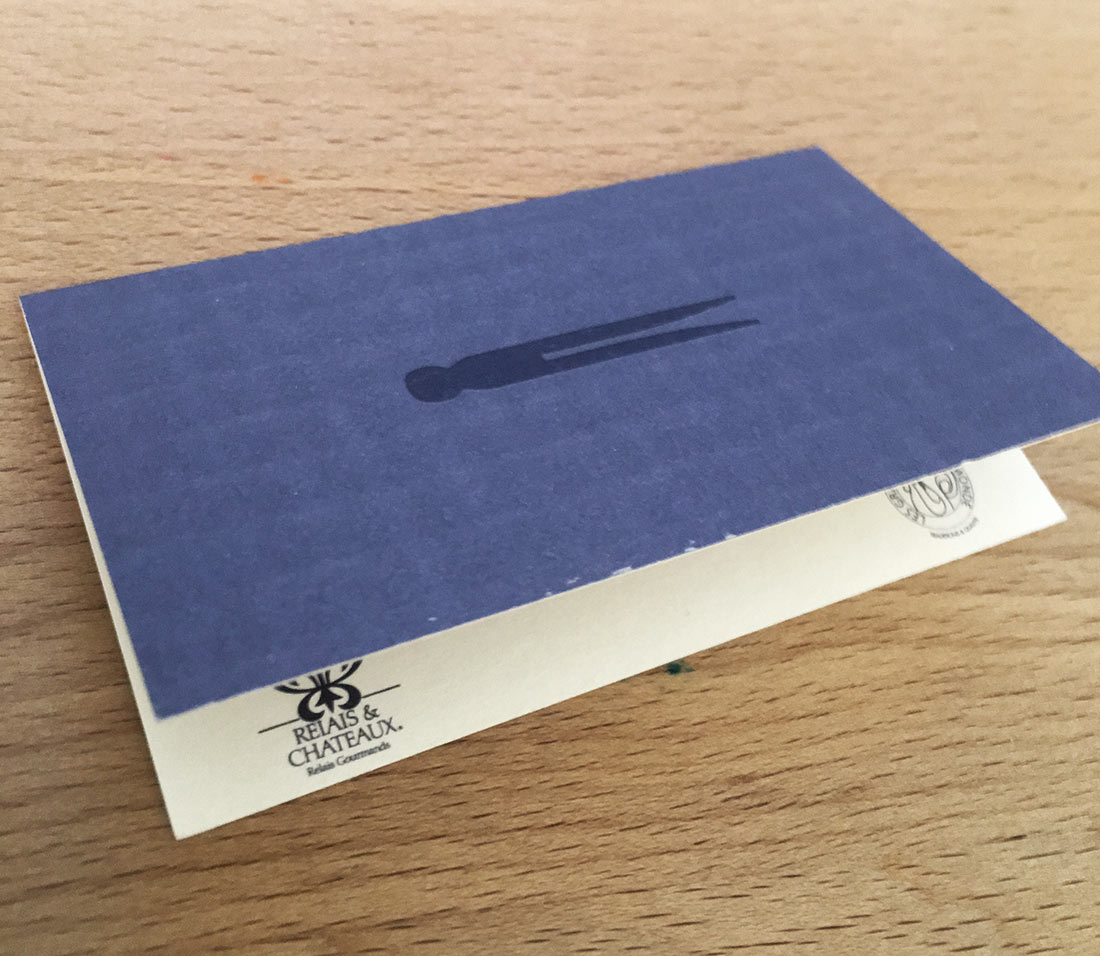 This is a double sized business card, which folds in half. So here you see it closed.