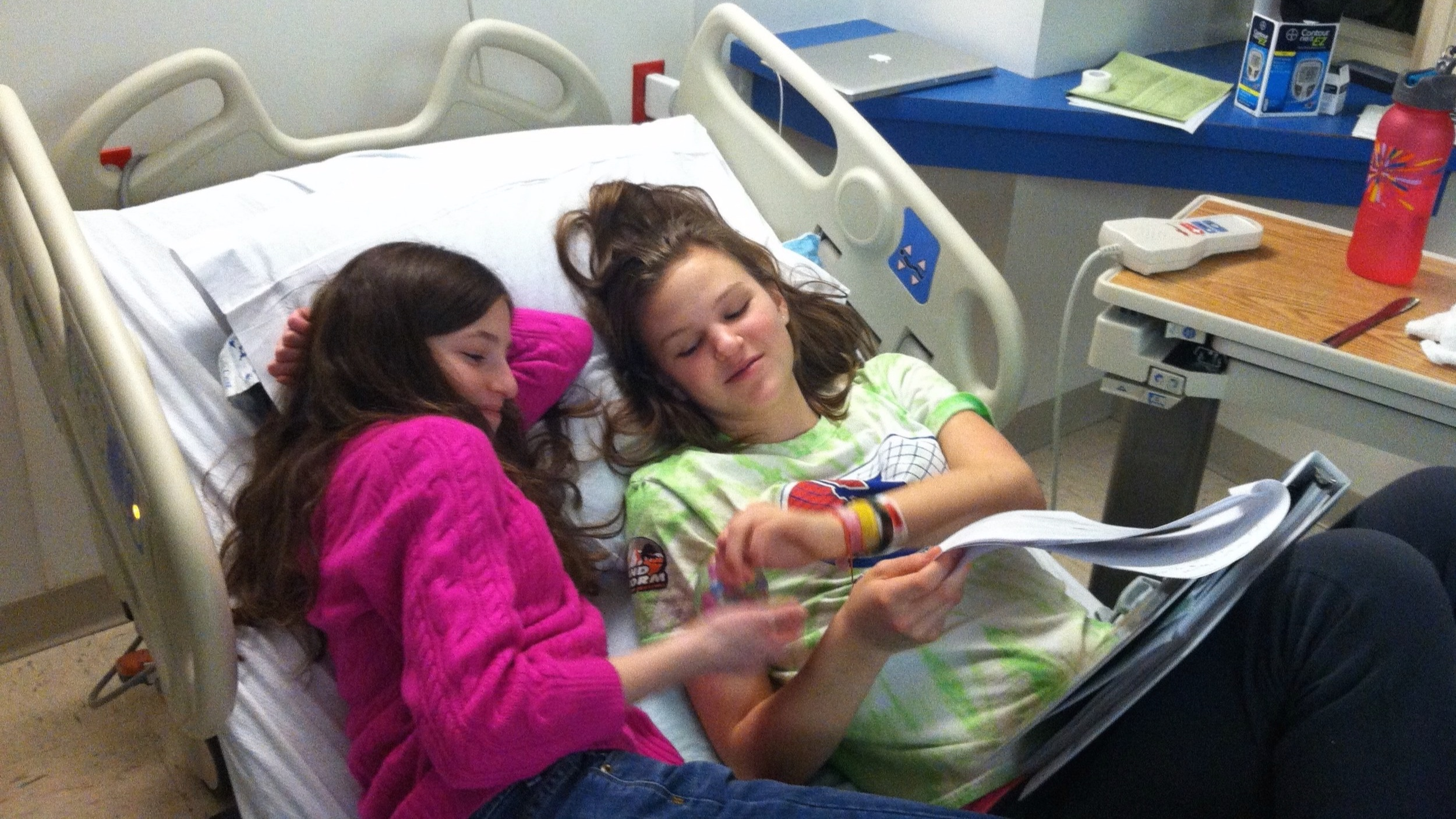 Pia visiting Abbie while Abbie's blood sugars stabilize.