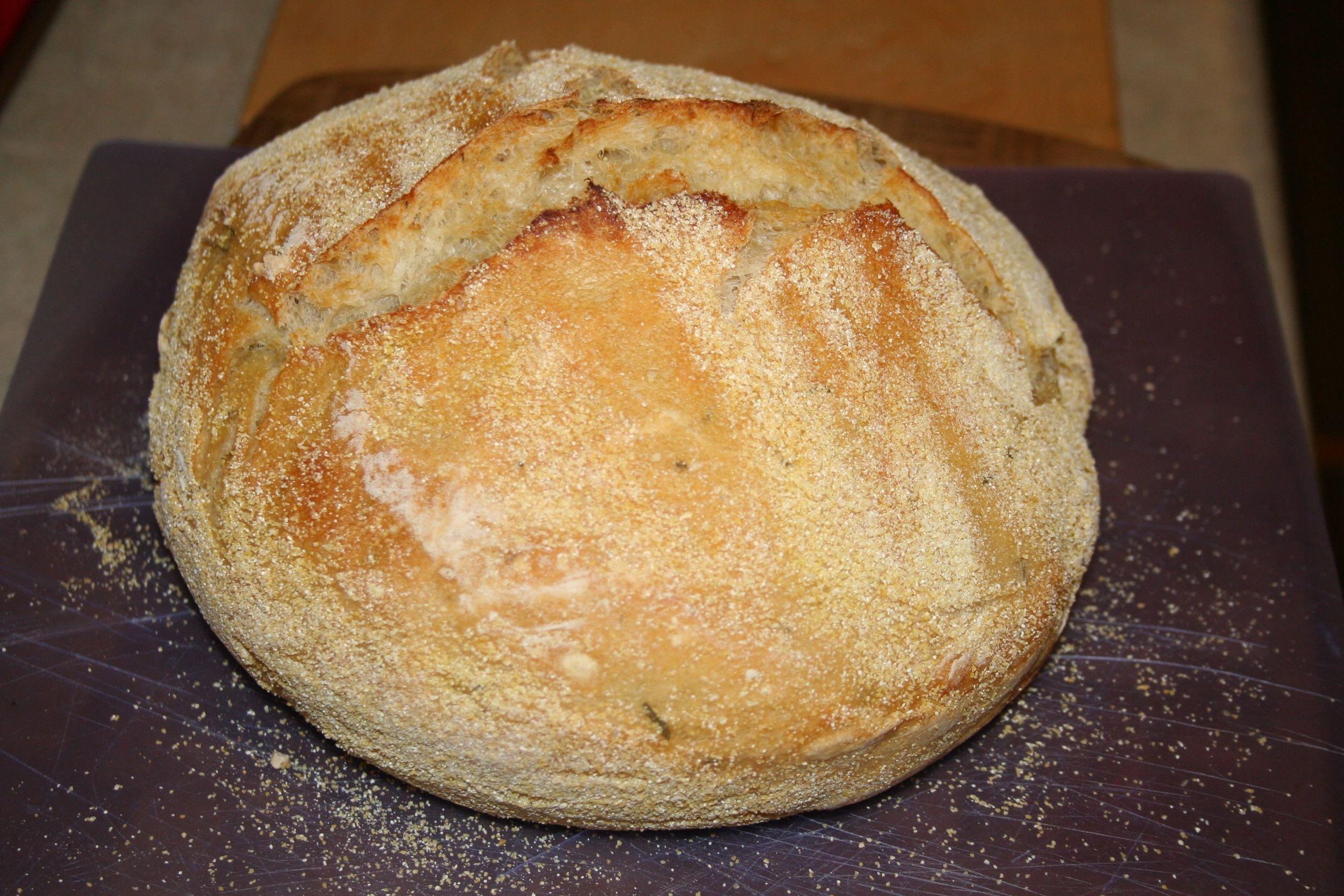 Rosemary Lemon No Knead Bread