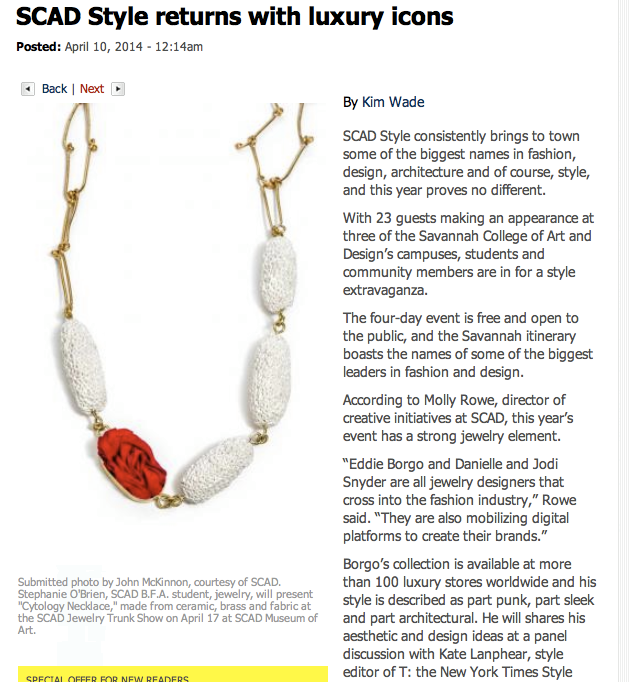 SCAD Style Returns with Luxury Icons - Article by Savannah Now:Savannah Morning NewsWritten for SCAD Style