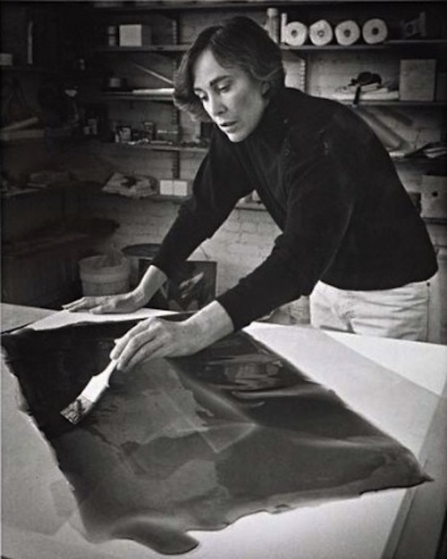 Helen Pashgian working in her studio in the 1970s. Photo by Walt Mancini.
