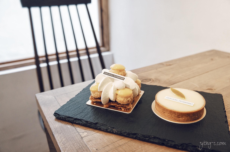 圖4:台北  Quelques Pâtisseries 某某。甜點 的鳳梨茉莉花聖多諾黑(左)與檸檬塔(右)(攝影:Ying Chen)