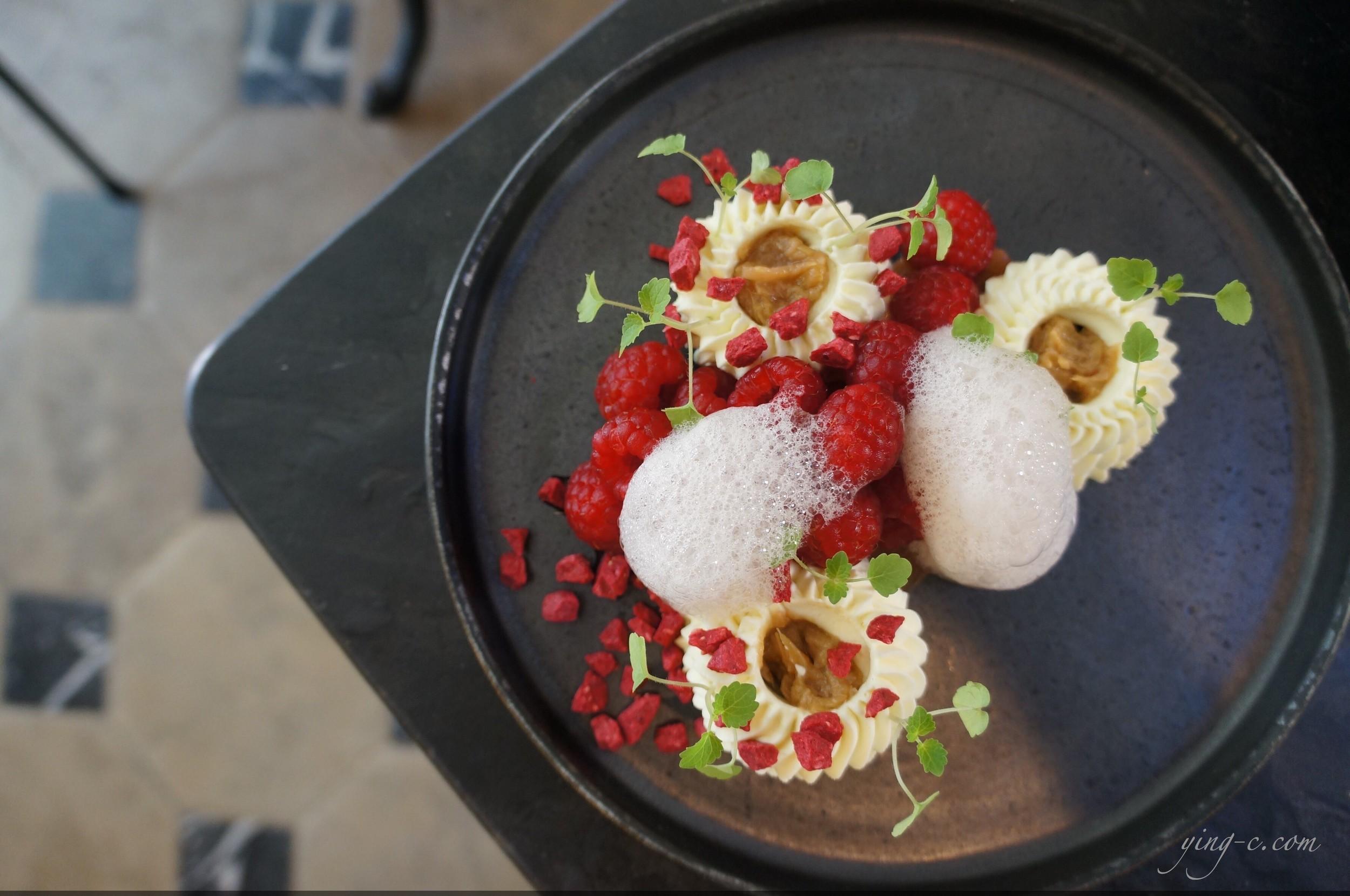 """ Rubarbe croquante et confite, verveine, framboise marinée et citron vert "" (rubarb confit and crisp, verbena, marinated raspberry and lime)"
