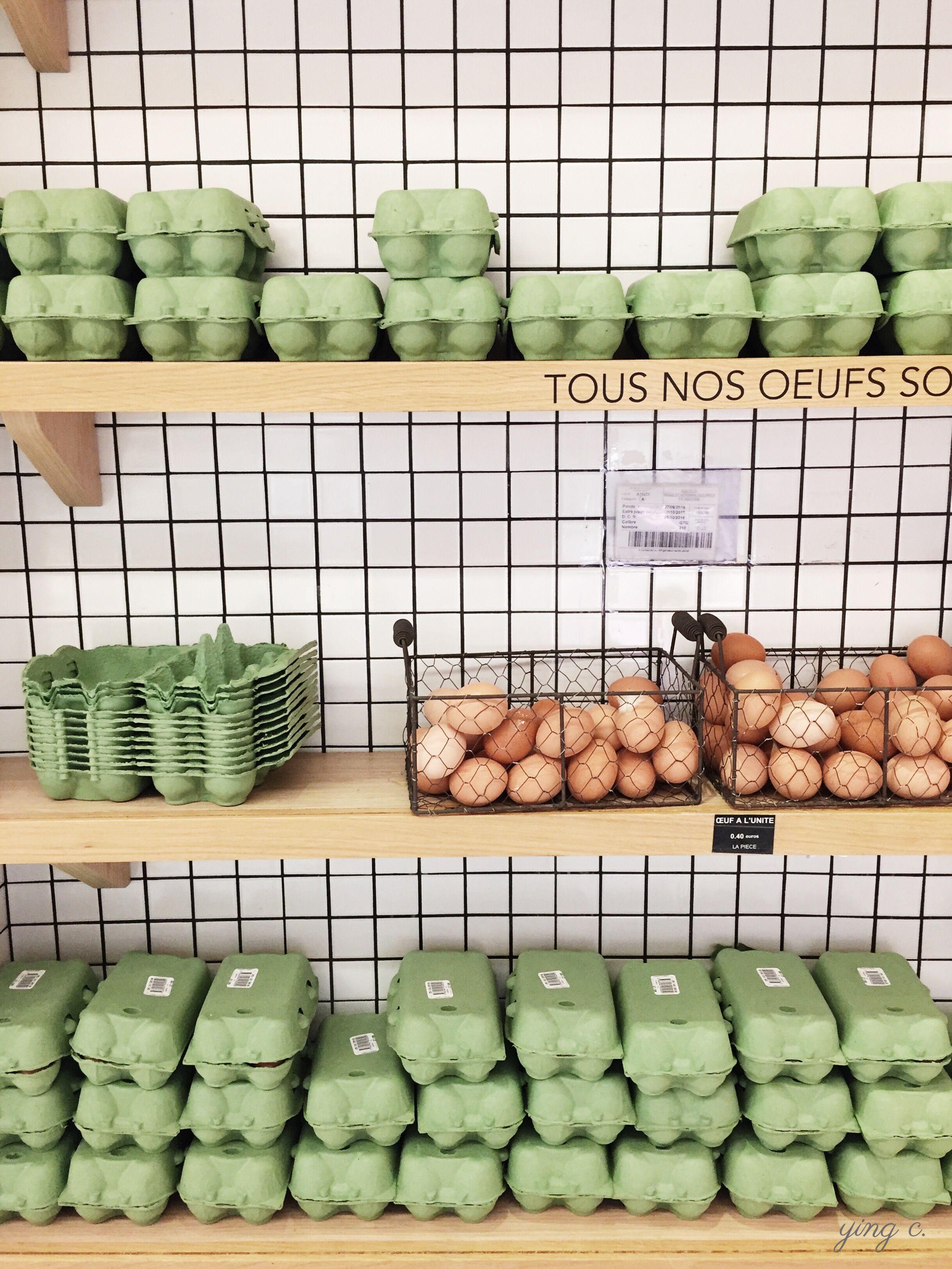 圖5. 巴黎  Le Bon Marché  百貨公司的食品超市  La Grande Epicerie  裡的蛋架。(攝影:Ying Chen)